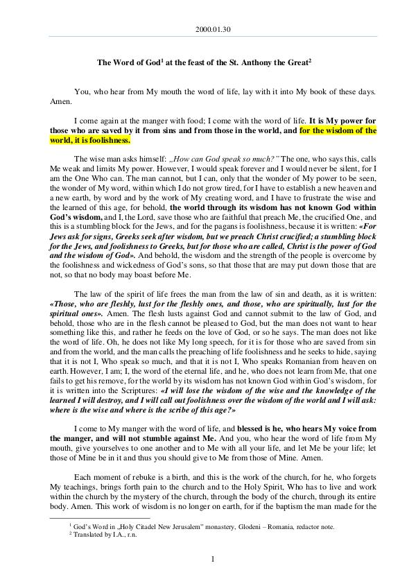 The Word of God in Romania 2000.01.30 - The Word of God at the feast of the S