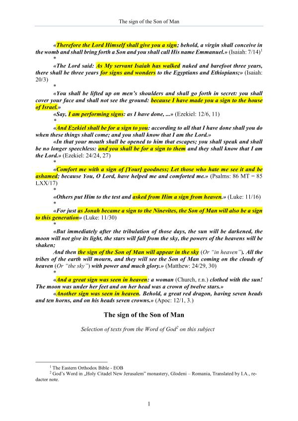 The Word of God about the sign of the Son of Man The Word of God about the sign of the Son of Man