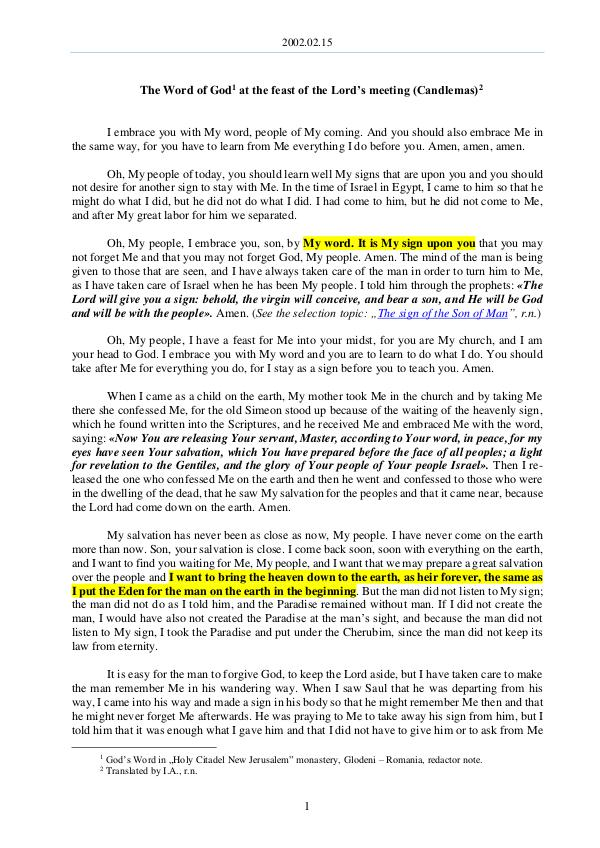 The Word of God in Romania 2002.02.15 - The Word of God at the feast of the L