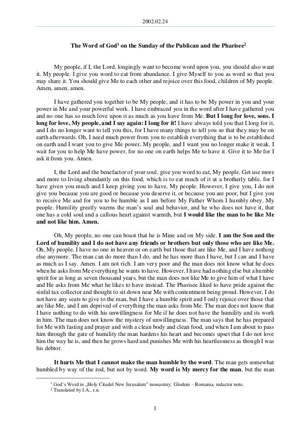 The Word of God in Romania 2002.02.24 -The Word of God on the Sunday of the P