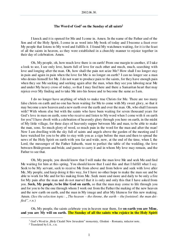 The Word of God in Romania 2002.06.30 - The Word of God on the Sunday of all