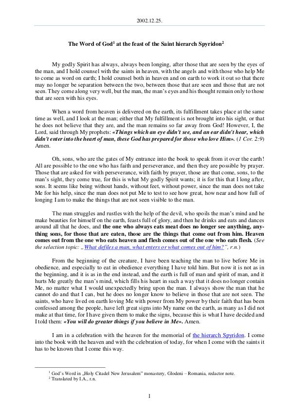 The Word of God in Romania 2002.12.25 - The Word of God at the feast of the S