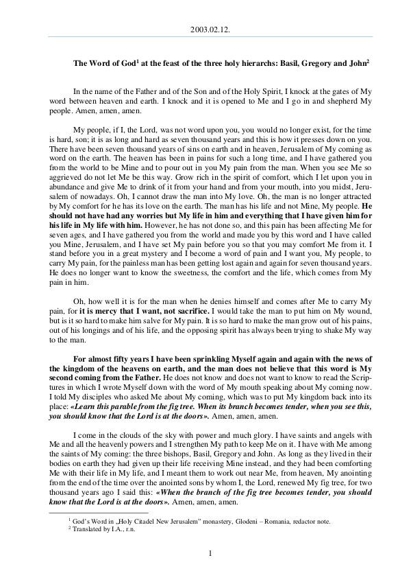 The Word of God in Romania 2003.02.12 - The Word of God at the feast of the t