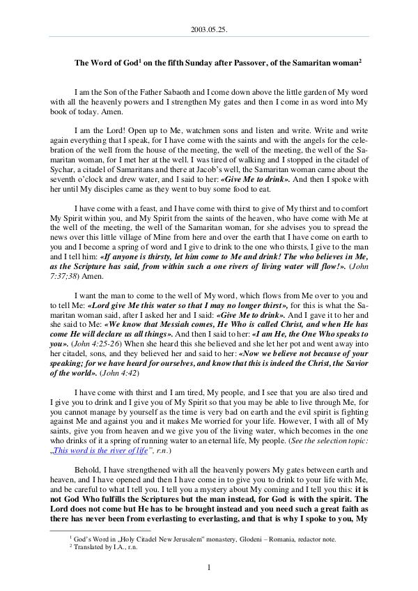 The Word of God in Romania 2003.05.25 - The Word of God on the fifth Sunday a