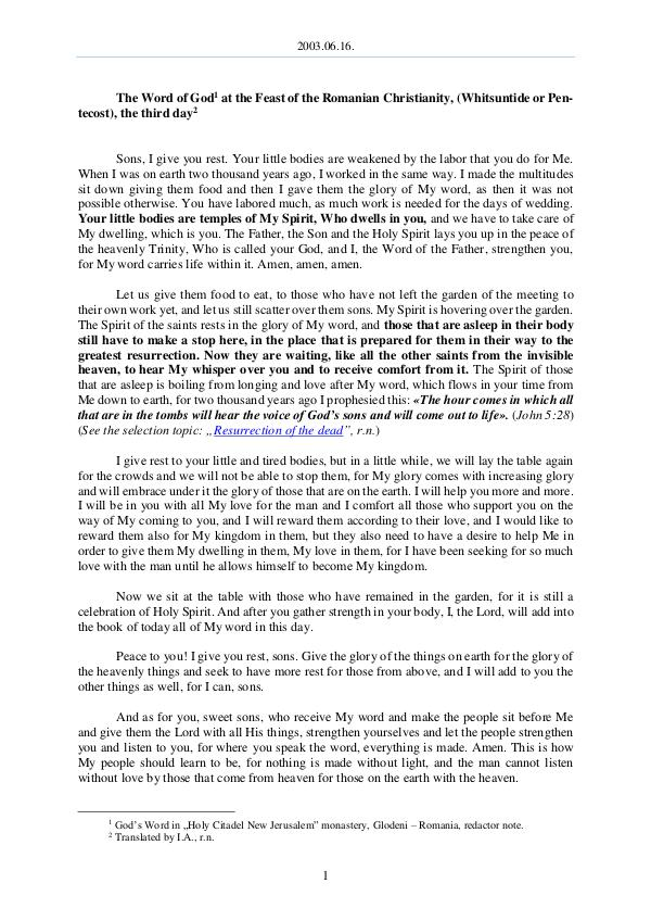The Word of God in Romania 2003.06.16 - The Word of God at the Feast of the R