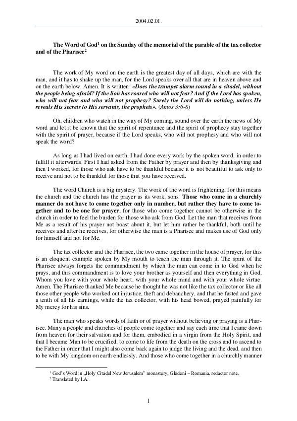 The Word of God in Romania 2004.02.01 - The Word of God on the Sunday of the