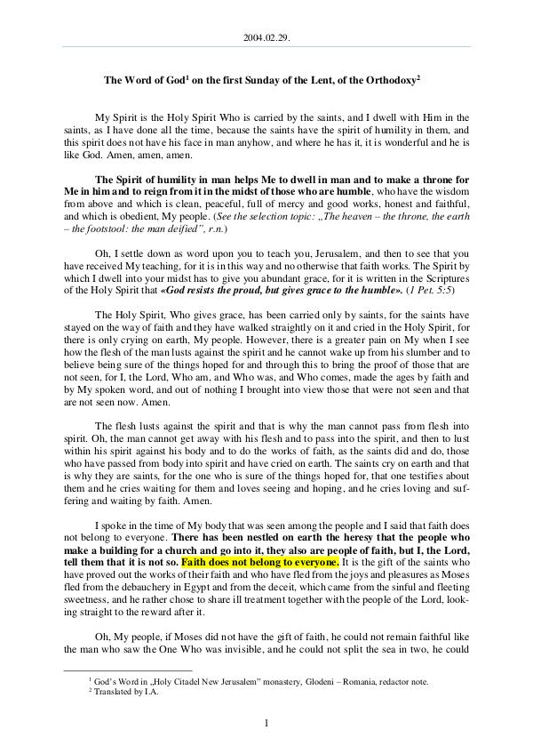 The Word of God in Romania 2004.02.29 - The Word of God on the first Sunday o