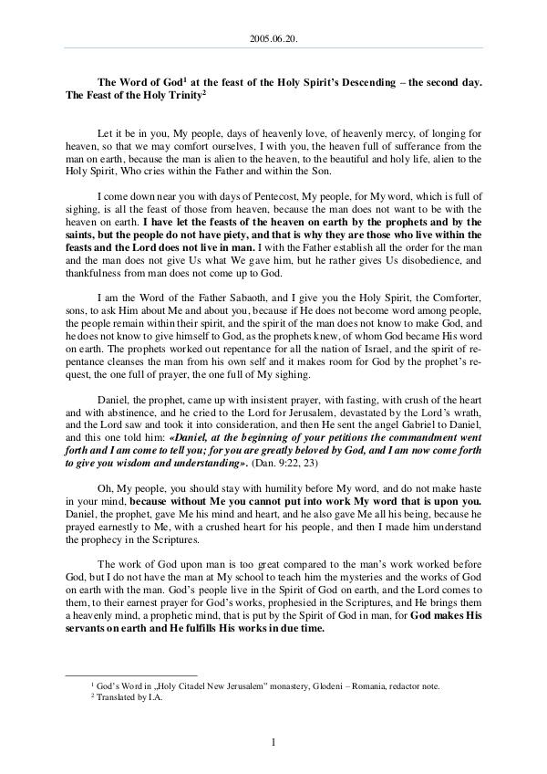 The Word of God in Romania 2005.06.20 - The Word of God at the feast of the H