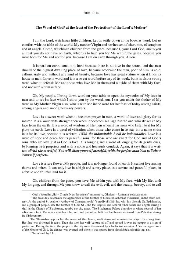 The Word of God in Romania 2005.10.14 - The Word of Got at the feast of the P