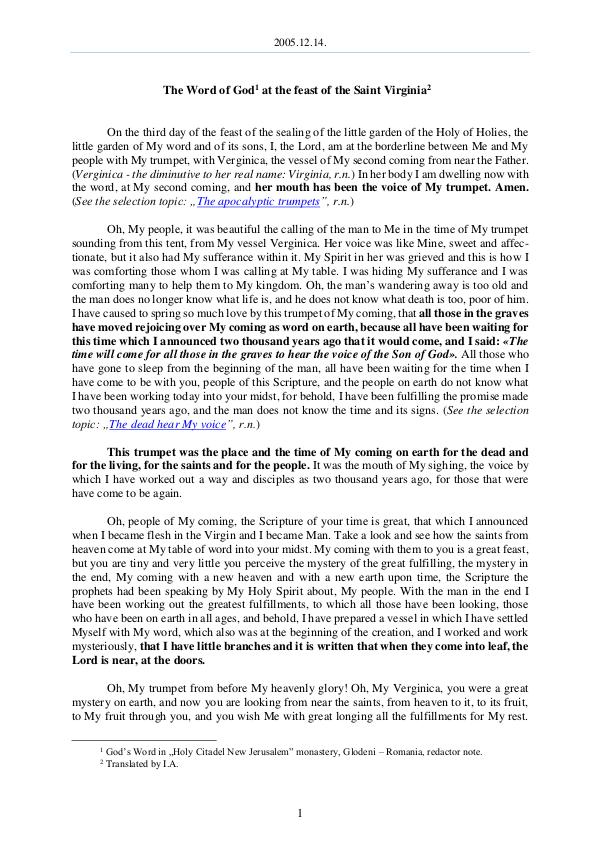 The Word of God in Romania 2005.12.14 - The Word of God at the feast of the S