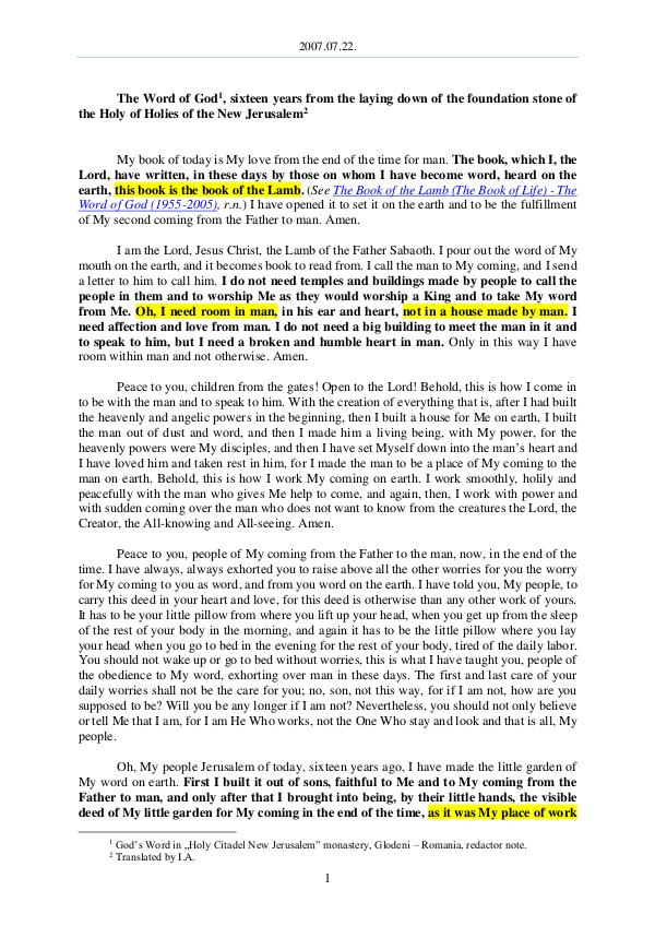 The Word of God in Romania 2007.07.22 - The Word of God, sixteen years from t