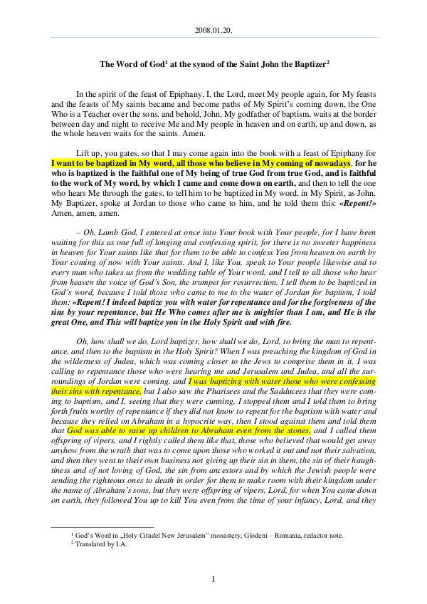The Word of God in Romania 2008.01.20 - The Word of God at the synod of the S