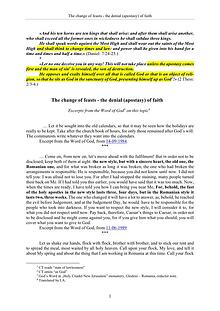 The Word of God about the change of feasts - the d