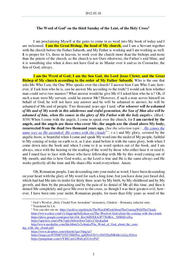 The Word of God in Romania 2012.03.18 - The Word of God on the third Sunday o