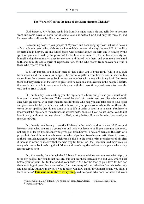 The Word of God in Romania 2012.12.19 - The Word of God at the feast of the S