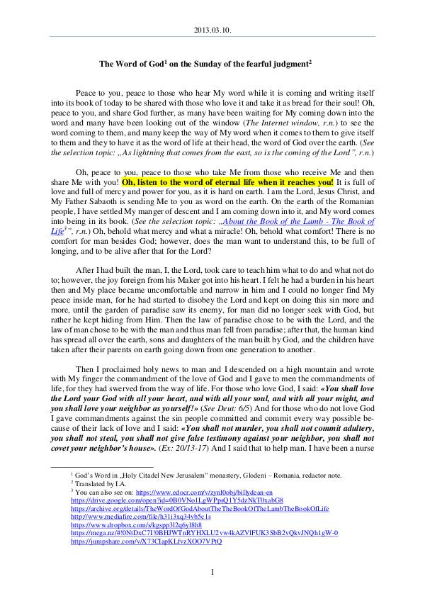 The Word of God in Romania 2013.03.10 - The Word of God on the Sunday of the