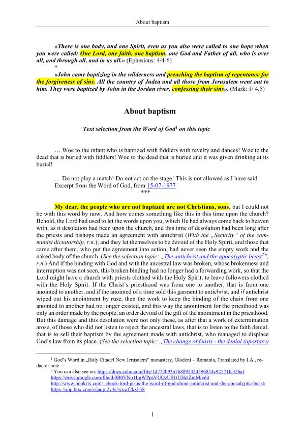 The Word of God about baptism The Word of God about baptism