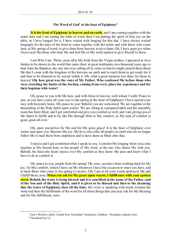 2015.01.19 - The Word of God at the feast of Epiph