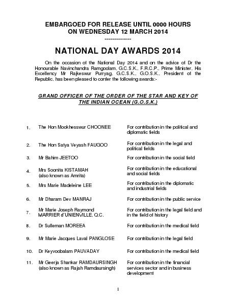 Independence NATIONAL DAY AWARDS 2014