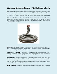 Stainless Chimney Liners - 7 Little Known Facts (Dec. 2013)