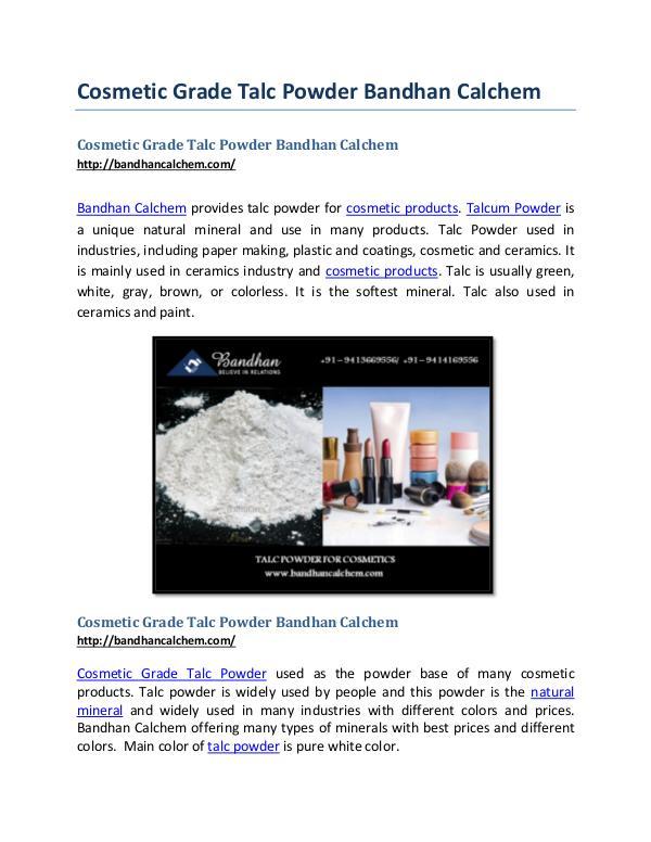 Cosmetic Grade Talc Powder Bandhan Calchem Cosmetic Grade Talc Powder Bandhan Calchem