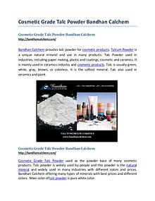Cosmetic Grade Talc Powder Bandhan Calchem