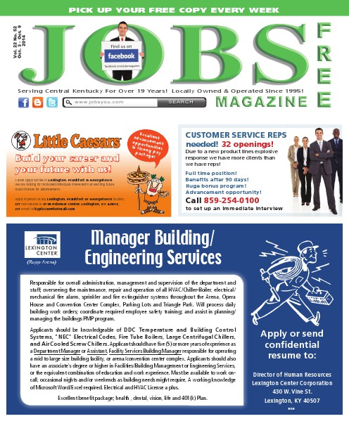 Jobs Magazine October 3 – October 9, 2014