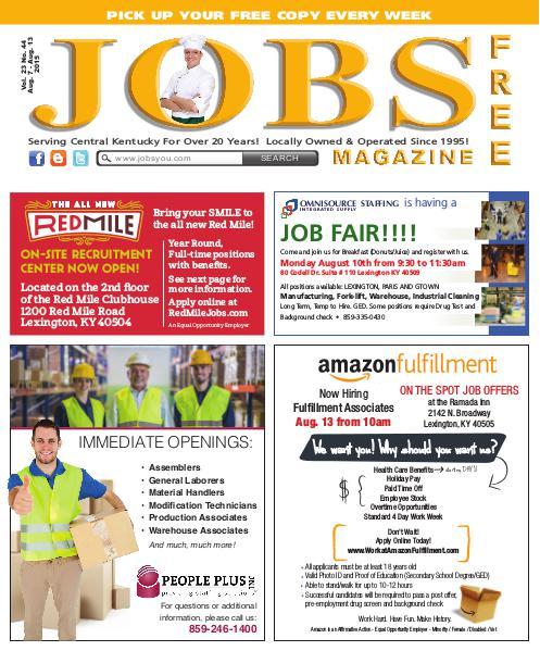 Jobs Magazine August 7 – 13, 2015