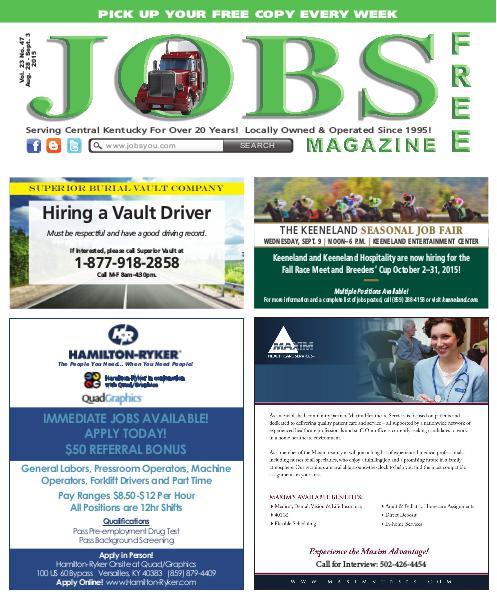 Jobs Magazine August 28 – September 3, 2015