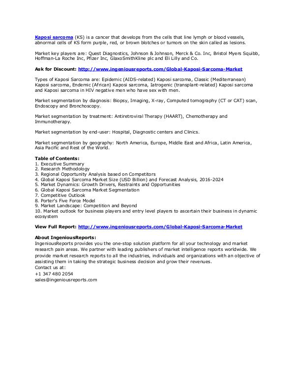 2024 Global Kaposi Sarcoma Market Size, Status and Forecast Kaposi Sarcoma Market Research Reports