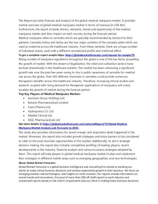 Freelancer Global Market Research Report Medical Marijuana Market Analysis to 2025w