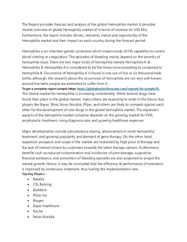 Hemophilia Market Analysis to 2025