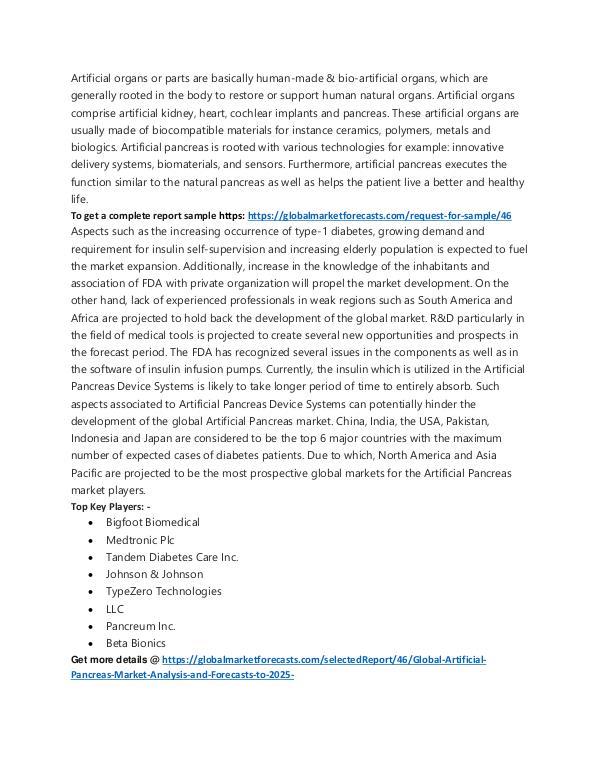 Artificial Pancreas Market Analysis to 2025w