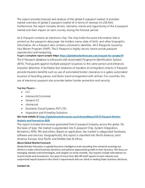 E-Passport Market Analysis to 2025