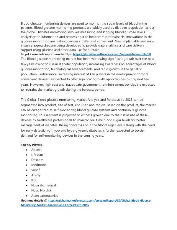Blood Glucose Monitoring Market Analysis to 2025