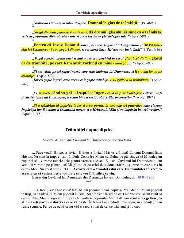 Cuvântul lui Dumnezeu despre trâmbiţele apocalipti Cuvântul lui Dumnezeu despre trâmbiţele apocalipti