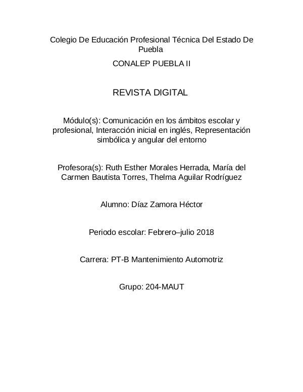 Mi primera revista entevista de Díaz Zamora Hector