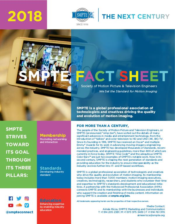 SMPTE Fact Sheet SMPTE 2018 Fact Sheet