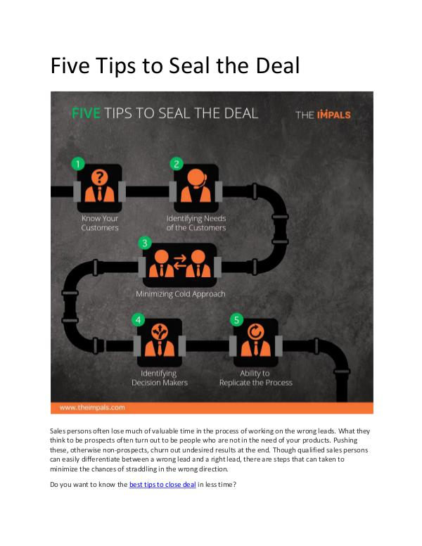 Five Tips to Seal the Deal