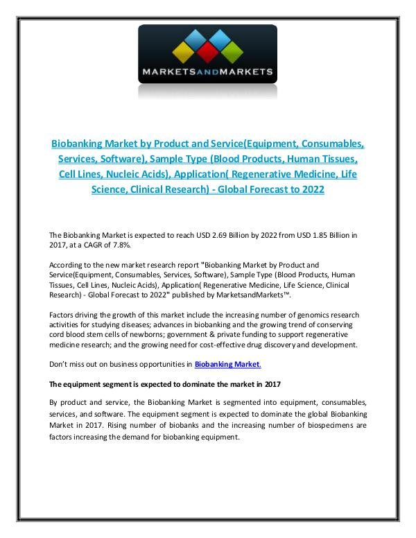 Biobanking Market - Application, Product and Service Biobanking