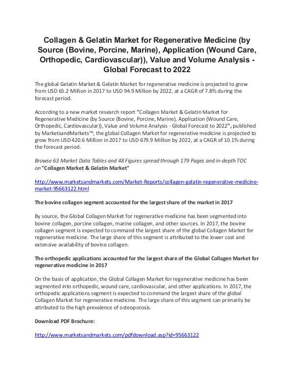 Growth in Collagen & Gelatin Market for Regenerative Medicine Regenerative Medicine