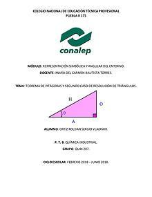 Teorema de Pitágoras y tercer caso de resolución de triángulos.