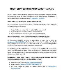 Flight Compensation Letter Template