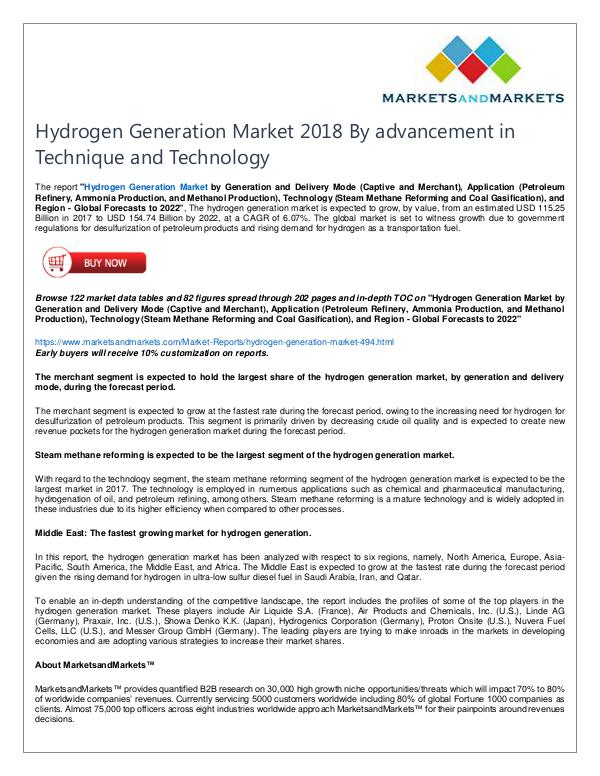 Energy and Power Hydrogen Generation Market