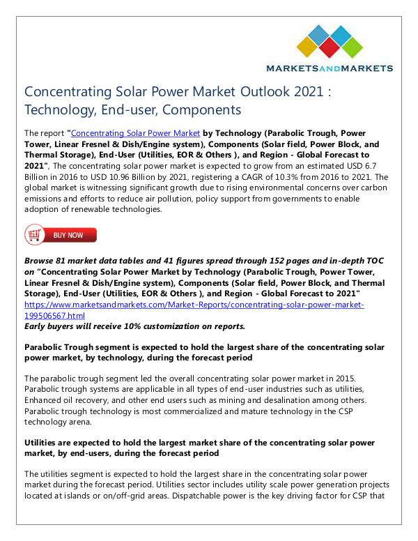 Energy and Power Concentrating Solar Power Market