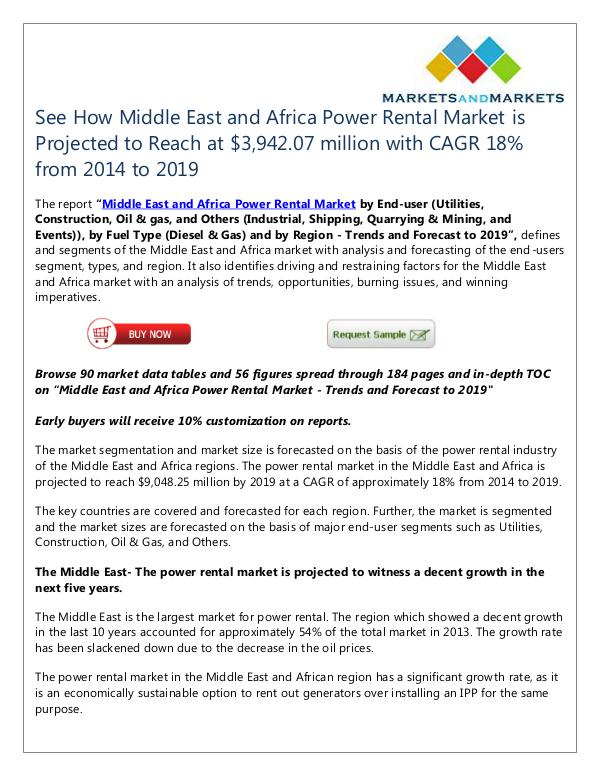 Energy and Power Middle East and Africa Power Rental Market