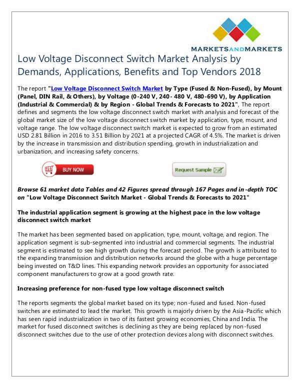 Energy and Power Low Voltage Disconnect Switch Market