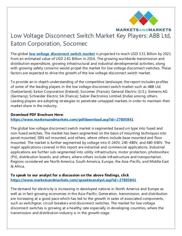 Low Voltage Disconnect Switch Market1