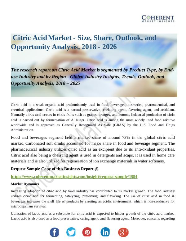 Chemical Research Report Citric-Acid-Market