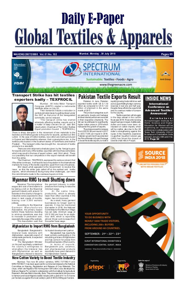 Global Textiles & Apparels - Daily E-Paper Global Textiles & Apparels E-PAPER - (30 July 2018